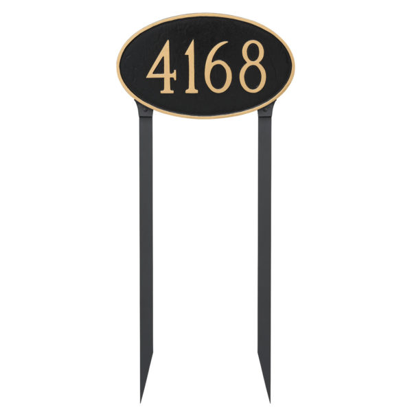 Classic Oval Estate Address Sign Plaque with Lawn Stakes