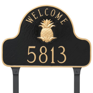 Pineapple Welcome Arch Address Sign Plaque with Lawn Stakes