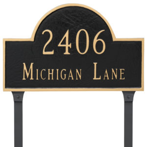 Classic Arch Standard Two Line Address Sign Plaque with Lawn Stakes