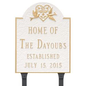 Dove and Heart Wedding Anniversary Sign Plaque with Lawn Stakes