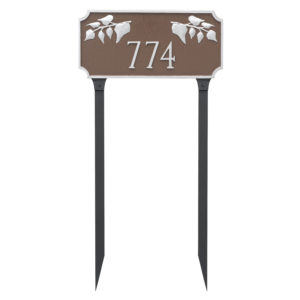 Camden Ivy One Line Address Sign Plaque with Lawn Stakes