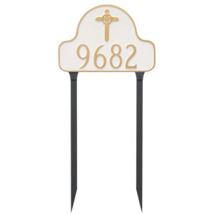 Arch with Celtic Cross Address Sign Plaque with Lawn Stakes