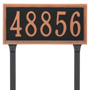 Fremont Rectangle One Line Address Sign Plaque with Lawn Stakes