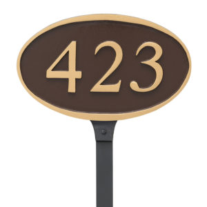 Ferris Oval Address Plaque Sign with Lawn Stake