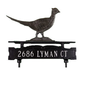 Cast Aluminum One Line Lawn Sign with Pheasant Ornament