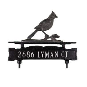 Cast Aluminum Line Lawn Sign with Cardinal Ornament