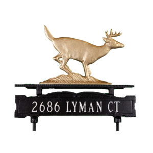 Cast Aluminum One Line Lawn Sign with Buck Ornament