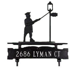 """13.75"""" x 14.75"""" Cast Aluminum One Line Lawn Sign with Lamplighter Ornament"""