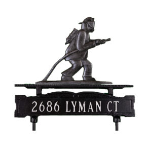 """12.75"""" x 14.75"""" Cast Aluminum One Line Lawn Sign with Cottage Lighthouse Ornament"""