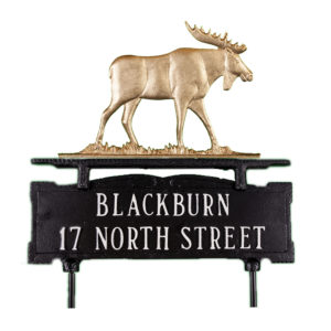 """12.75"""" x 14.75"""" Cast Aluminum Two Line Lawn Sign with Moose Ornament"""