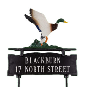 """13.5"""" x 14.75"""" Cast Aluminum Two Line Lawn Sign with Duck Ornament"""