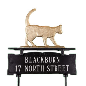 """13.5"""" x 14.75"""" Cast Aluminum Two Line Lawn Sign with Cat Ornament"""