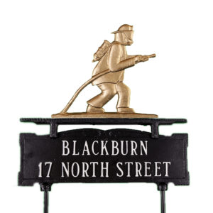 """12.75"""" x 14.75"""" Cast Aluminum Two Line Lawn Sign with Fireman Ornament"""