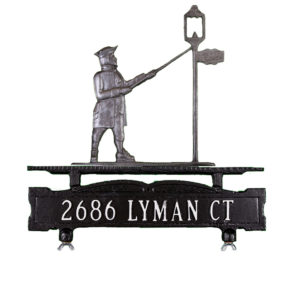 """13.75"""" x 14.75"""" Cast Aluminum One Line Mailbox Sign with Lamplighter Ornament"""