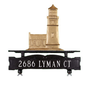 """12.75"""" x 14.75"""" Cast Aluminum One Line Mailbox Sign with Cottage Lighthouse Ornament"""