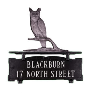 """13.5"""" x 14.75"""" Cast Aluminum Two Line Mailbox Sign with Owl Ornament"""