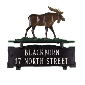 """12.75"""" x 14.75"""" Cast Aluminum Two Line Mailbox Sign with Moose Ornament"""