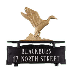 """13.5"""" x 14.75"""" Cast Aluminum Two Line Mailbox Sign with Duck Ornament"""