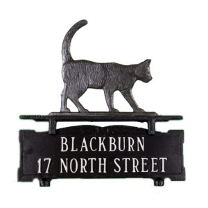 """13.5"""" x 14.75"""" Cast Aluminum Two Line Mailbox Sign with Cat Ornament"""