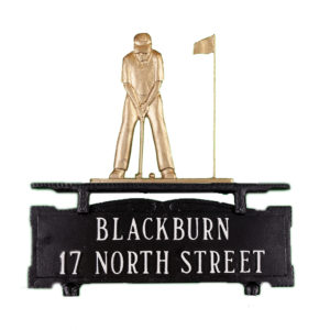 """12.75"""" x 14.75"""" Cast Aluminum Two Line Mailbox Sign with Putter Ornament"""