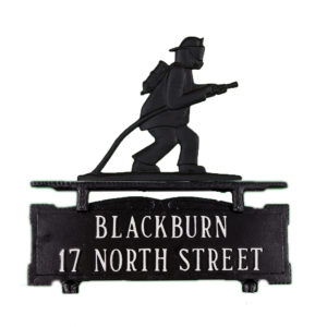 """12.75"""" x 14.75"""" Cast Aluminum Two Line Mailbox Sign with Fireman Ornament"""