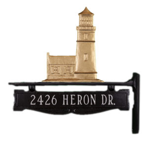 """12.75"""" x 14.75"""" Cast Aluminum One Line Post Sign with Cottage Lighthouse Ornament"""