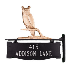 """13.5"""" x 14.75"""" Cast Aluminum Two Line Post Sign with Owl Ornament"""