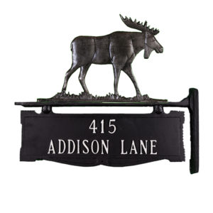 """12.75"""" x 14.75"""" Cast Aluminum Two Line Post Sign with Moose Ornament"""