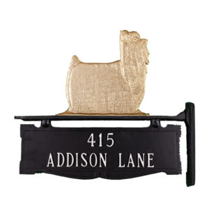 """12.25"""" x 14.75"""" Cast Aluminum Two Line Post Sign with Gold Yorkshire Terrier Ornament"""