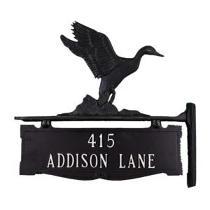 """13.5"""" x 14.75"""" Cast Aluminum Two Line Post Sign with Gold Duck Ornament"""