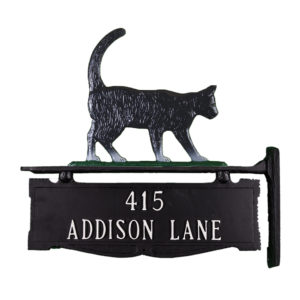"""13.5"""" x 14.75"""" Cast Aluminum Two Line Post Sign with Gold Cat Ornament"""