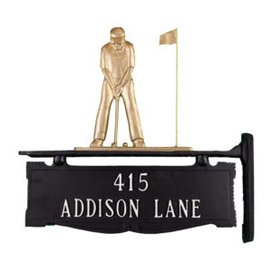 """12.75"""" x 14.75"""" Cast Aluminum Two Line Post Sign with Gold Putter Ornament"""