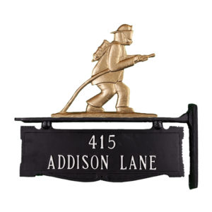 """12.75"""" x 14.75"""" Cast Aluminum Two Line Post Sign with Fireman Ornament"""