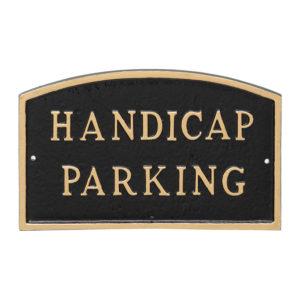 "10"" x 15"" Standard Arch Handicap Parking Statement Plaque Sign Black with Gold Lettering"