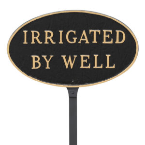 """6"""" x 10"""" Small Oval Irrigated By Well Statement Plaque Sign with 23"""" lawn stake, Black with Gold Lettering"""