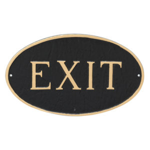 """10"""" x 18"""" Large Oval Exit Statement Plaque Sign"""