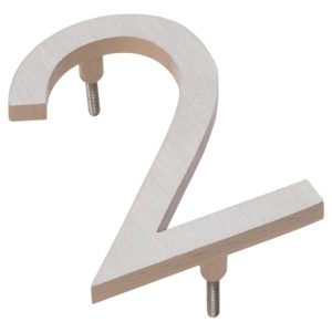 """4"""" Satin Nickel/Taupe Two Tone Aluminum floating or flat Modern House Numbers 0-9"""