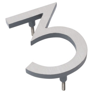 """4"""" Satin Nickel/Gray Two Tone Aluminum floating or flat Modern House Numbers 0-9"""
