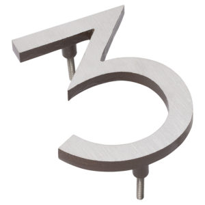 """6"""" Satin Nickel/Roman Bronze Two Tone Aluminum floating or flat Modern House Numbers 0-9"""