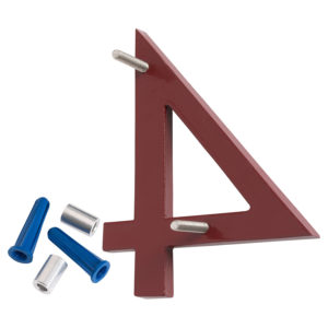 """4"""" Brick Red Aluminum floating or flat Modern House Numbers 0-9"""