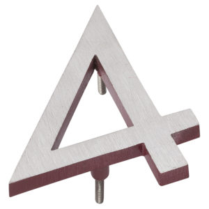 """12"""" Satin Nickel/Brick Red Two Tone Aluminum floating or flat Modern House Numbers 0-9"""