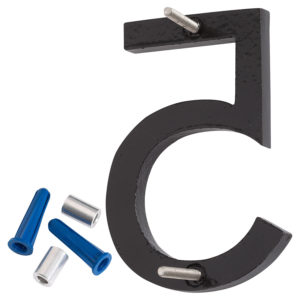 "4"" Satin Nickel/Black Two Tone Aluminum floating or flat Modern House Numbers 0-9"