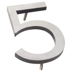 "6"" Satin Nickel/Black Two Tone Aluminum floating or flat Modern House Numbers 0-9"