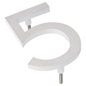 """10"""" Satin Nickel/White Two Tone Aluminum floating or flat Modern House Numbers 0-9"""