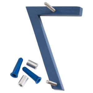 """4"""" Satin Nickel/Sea Blue Two Tone Aluminum floating or flat Modern House Numbers 0-9"""