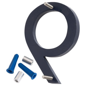 """4"""" Satin Nickel/Navy Two Tone Aluminum floating or flat Modern House Numbers 0-9"""