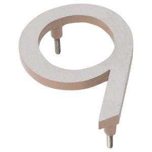 """10"""" Satin Nickel/Taupe Two Tone Aluminum floating or flat Modern House Numbers 0-9"""