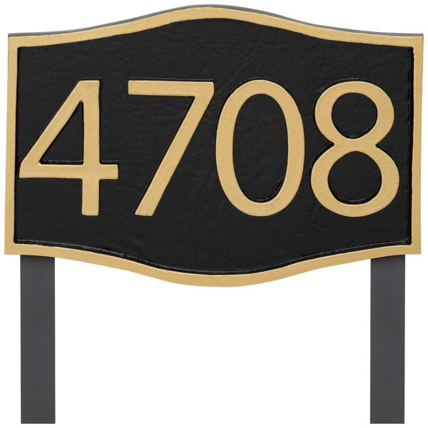 Double Arch Modern Economy Address Plaque (holds up to 4 characters)