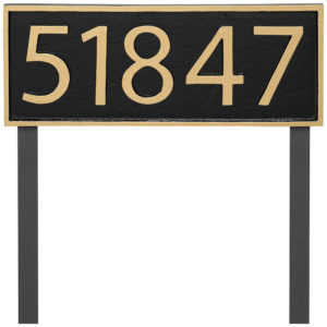 Powder Coated Aluminum Rectangle Economy Series Address Plaque Holds up to 5 Characters Modern Font Address Number Store