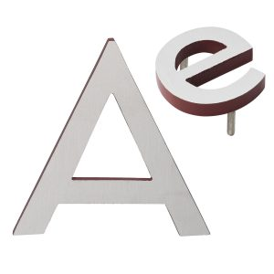 """10"""" Individual Brick Red Satin Nickel Two-Tone Modern Floating Letters A-Z"""